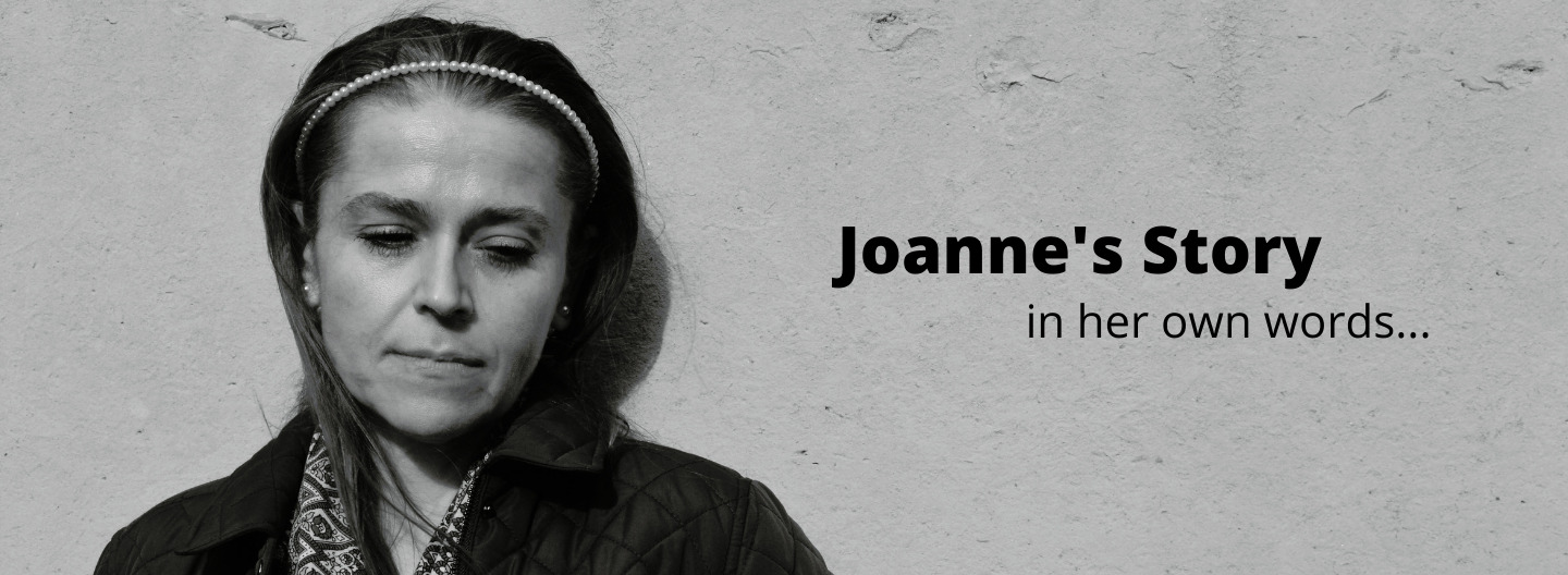 """picture of joanne with text """"joanne's story in her own words"""""""